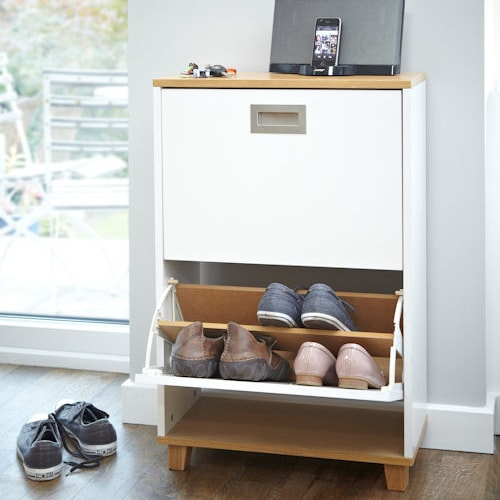 Merton Shoe Storage Cabinet in Oak and White