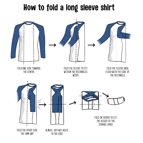 How to fold a long sleeve shirt