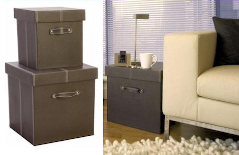 faux leather storage boxes in brown