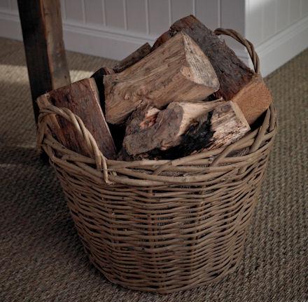 Store Round Wicker Log Basket Hessian Lined