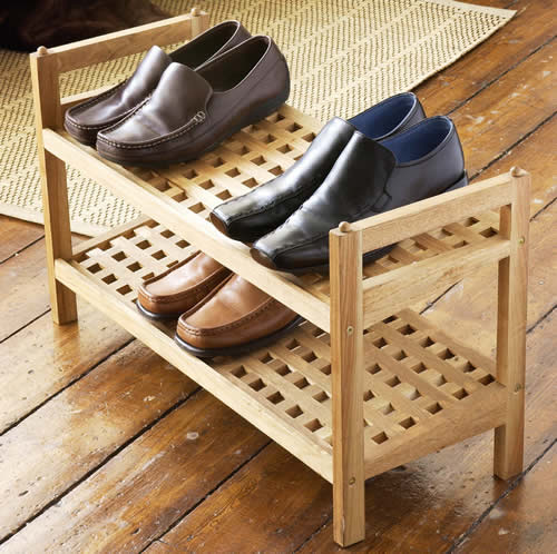 wooden walnut shoe storage rack