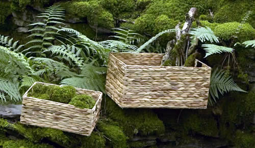 Large water hyacinth basket with handles