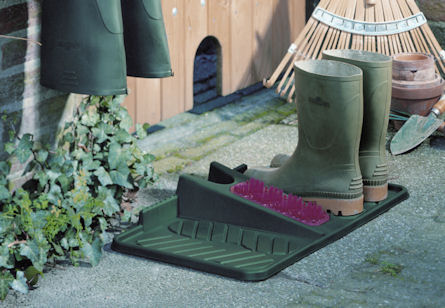 wellington boot tray, scraper and shoe horn