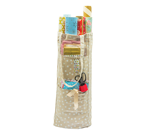 Beige and White Spotty Gift Wrap Storage Bag