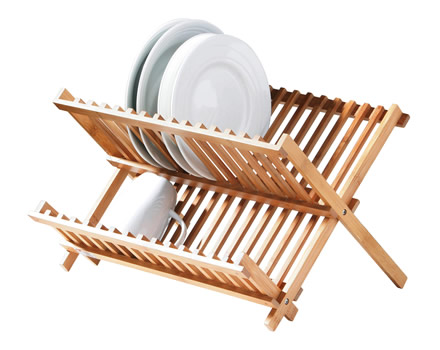 Bamboo plate rack. Use stack and store in your cupboard or as a dish rack by the kitchen sink