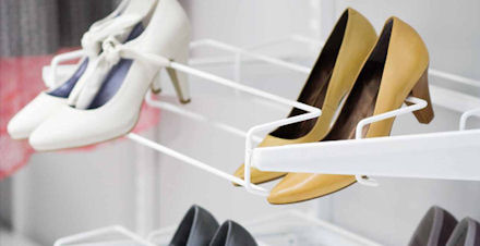 elfa triple gliding decor shoe storage rack in white or platinum