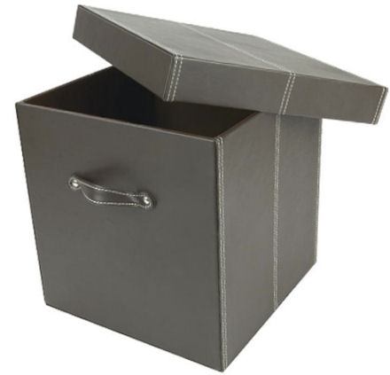 faux leather storage boxes and cubes