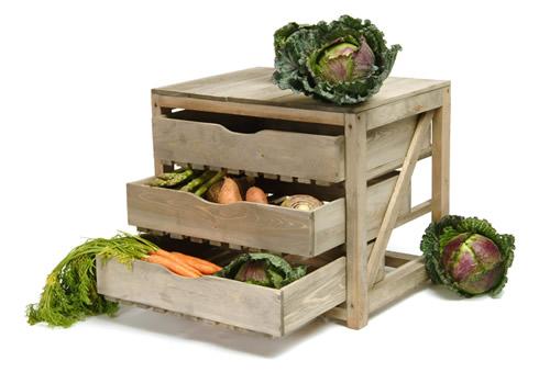 Spruce wood vegetable storage drawers