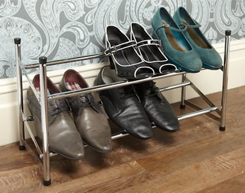 Extending Stackable Chromed Shoe Rack