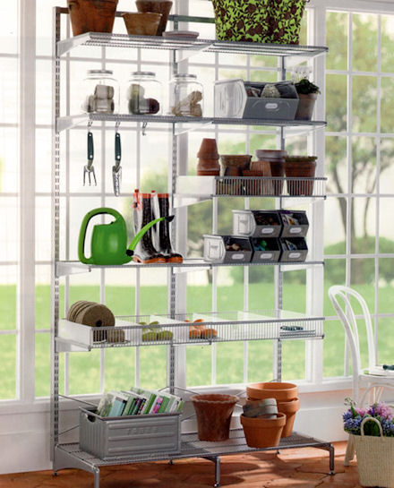 elfa freestanding twin slot shelving