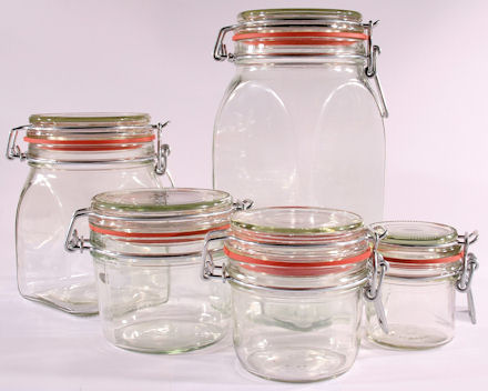 Kilner / Le Parfait glass preserving jars for jam, pickle & chutney making