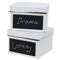 2 x Chalkboard DVD Storage Boxes