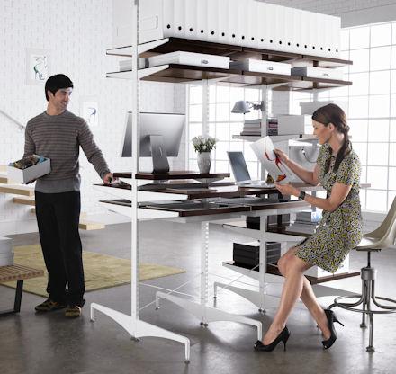 freestanding elfa office desk