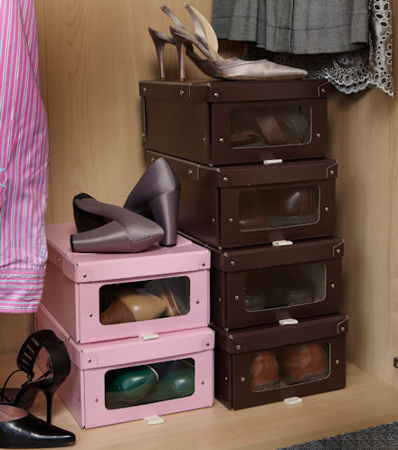 Brown and White shoe storage boxes