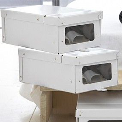 2 x Drop Front Shoe Storage Boxes