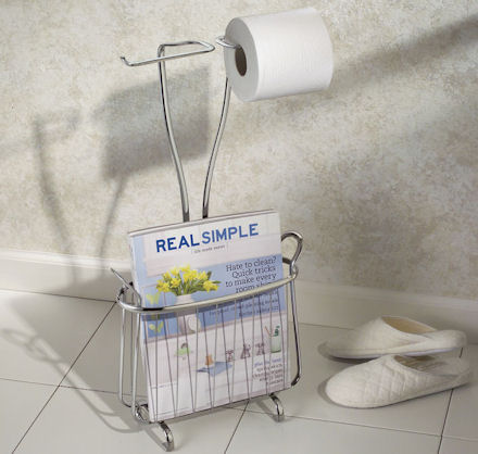 loo roll holder and magazine storage rack in stainless steel