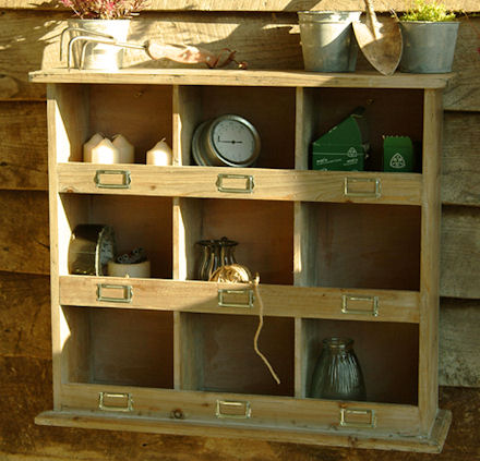 wooden shelving storage unit