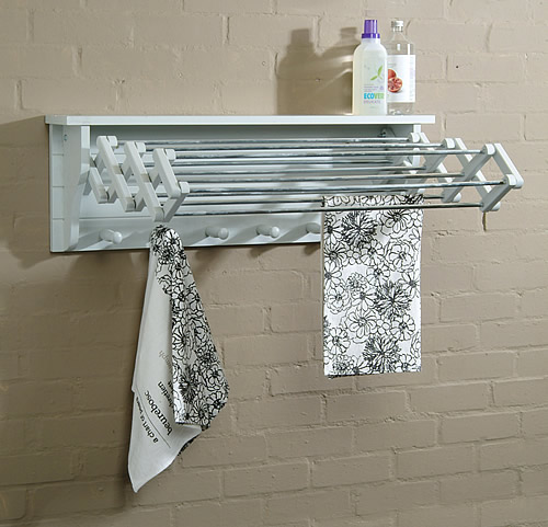 wall mounted extending wooden clothes airer / dryer