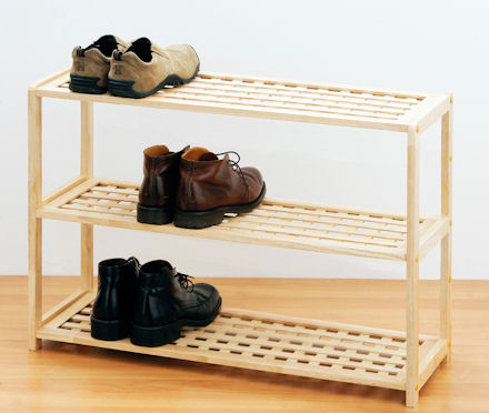 Store 3 Tier Wooden Shoe Shelf