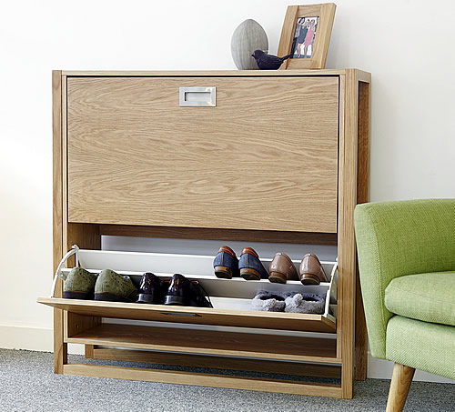 Oak Finish Shoe Storage Cupboard