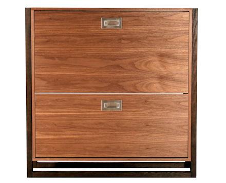 Walnut Finish Shoe Storage Cabinet.