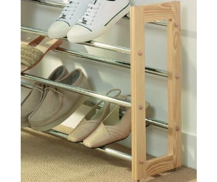wooden shoe storage rack
