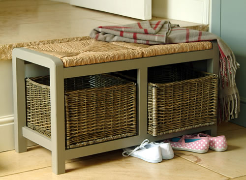 hallway storage bench with square wicker baskets. Great for shoe storage