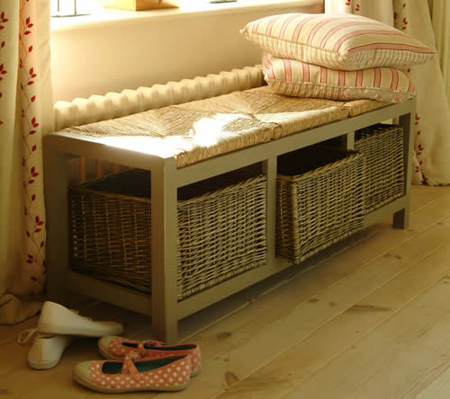 Hallway Storage Bench with 3 Wicker Baskets