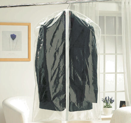 clear garment covers for storing suits and jackets