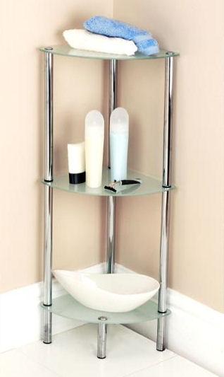 Wonderful Glass Corner Shelving Unit For Better Bathroom Storage!