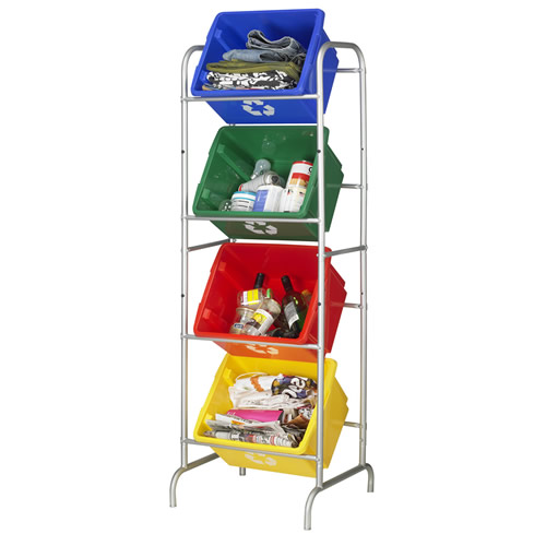 stacking recycling storage boxes and rack