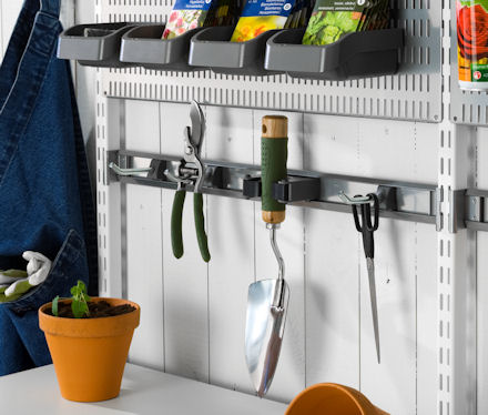 elfa shelving tool storage hook