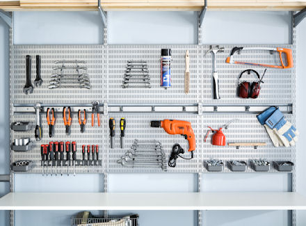 elfa workshop tool storage metal peg board