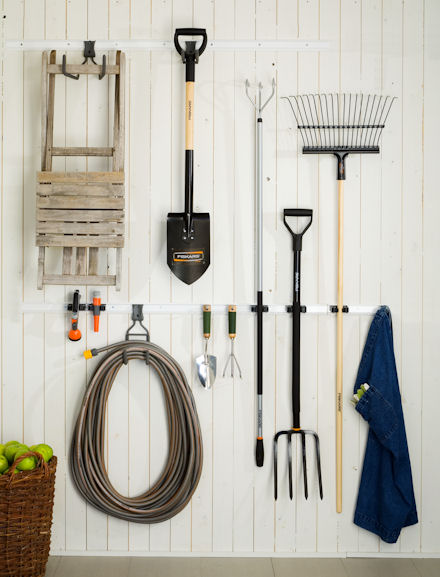 elfa hooks and hangers for your garden shed or garage