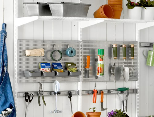 elfa shelving in the potting shed or garage