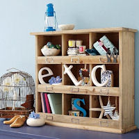 Rustic Cubby Storage Shelf Unit