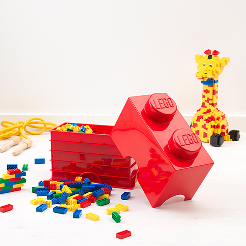 Small Lego Storage Brick in Red