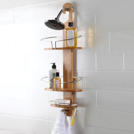 wooden shower caddy for better bathroom storage!
