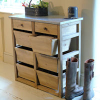 Console Table with Storage Boxes