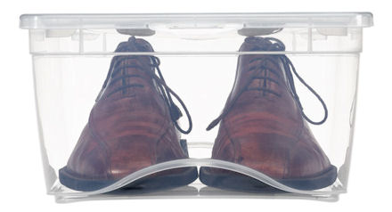 clear plastic shoe boxes for men. Great for tidying up your wardrobe storage