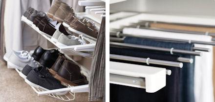 elfa shoe storage racks and gliding wooden trouser organiser