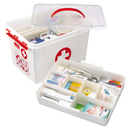 family sized first aid plastic storage box / tin