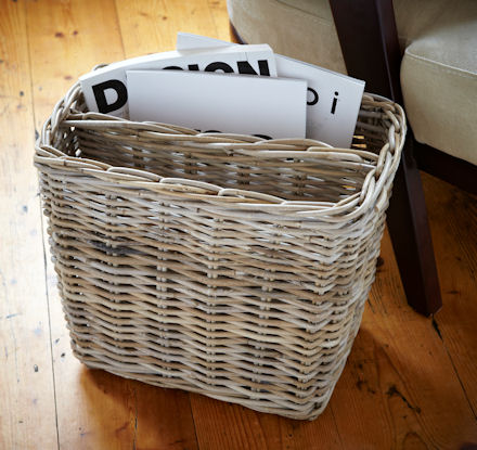 Store Grey Wicker Magazine Basket