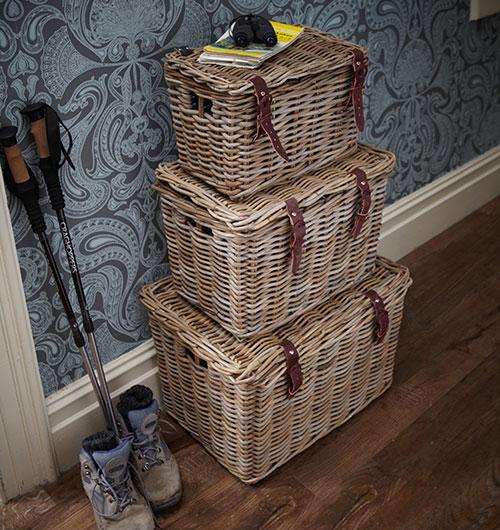 chunky wicker storage baskets with lid
