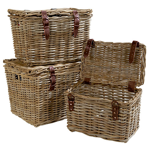 lidded wicker baskets in rattan