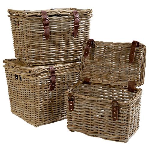 lidded wicker baskets in rattan