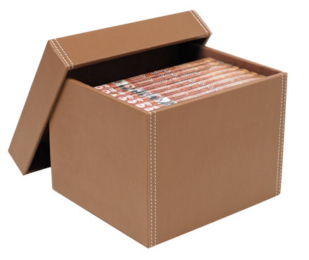 tan leather dvd storage box