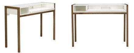 farringdon desk in walnut and glossy white MDF... A great little desk to save you bags of storage space if you're pushed for space