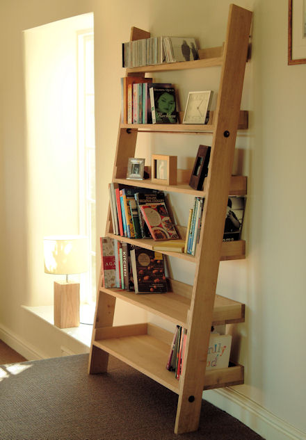 Solid Raw Oak Leaning Shelf Unit A Really Lovely Rustic Item For Storage Of Books
