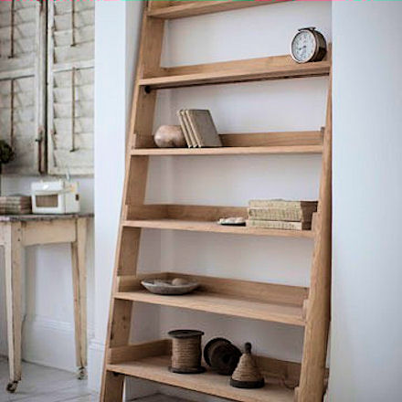 oak ladder shelving unit to store your books and ornaments